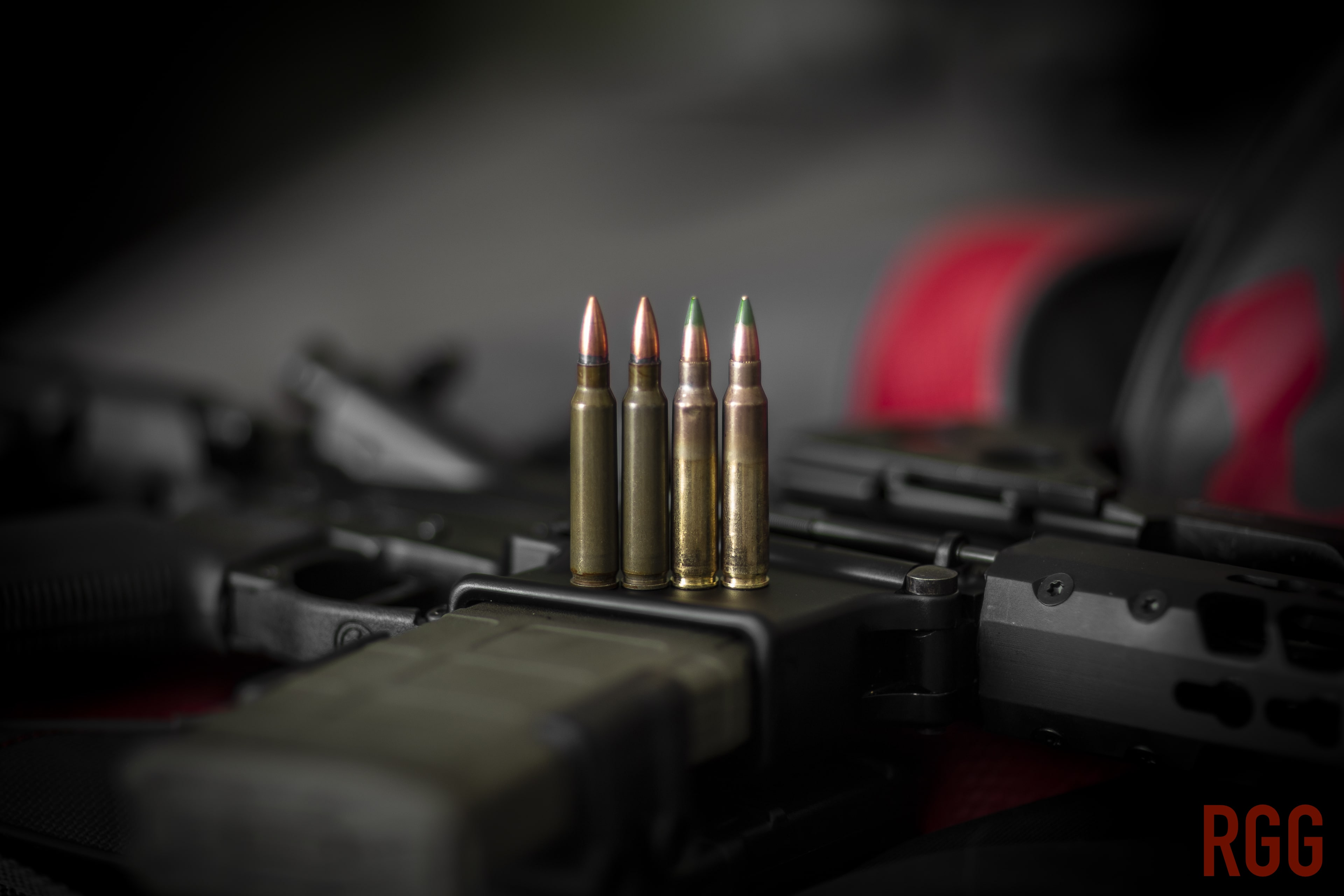 .223 Remington on the left, and M855 5.56mm on the right ammo.