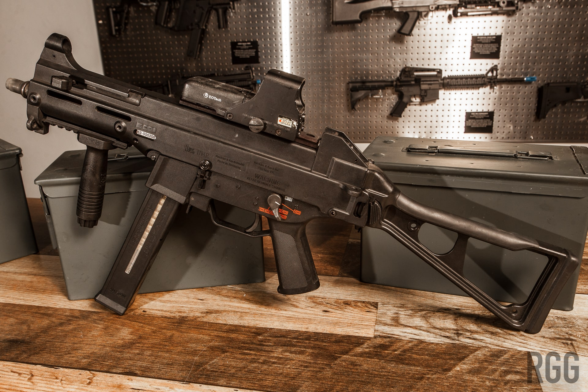 Depicted here is a Heckler & Koch UMP 45, a real submachine gun.