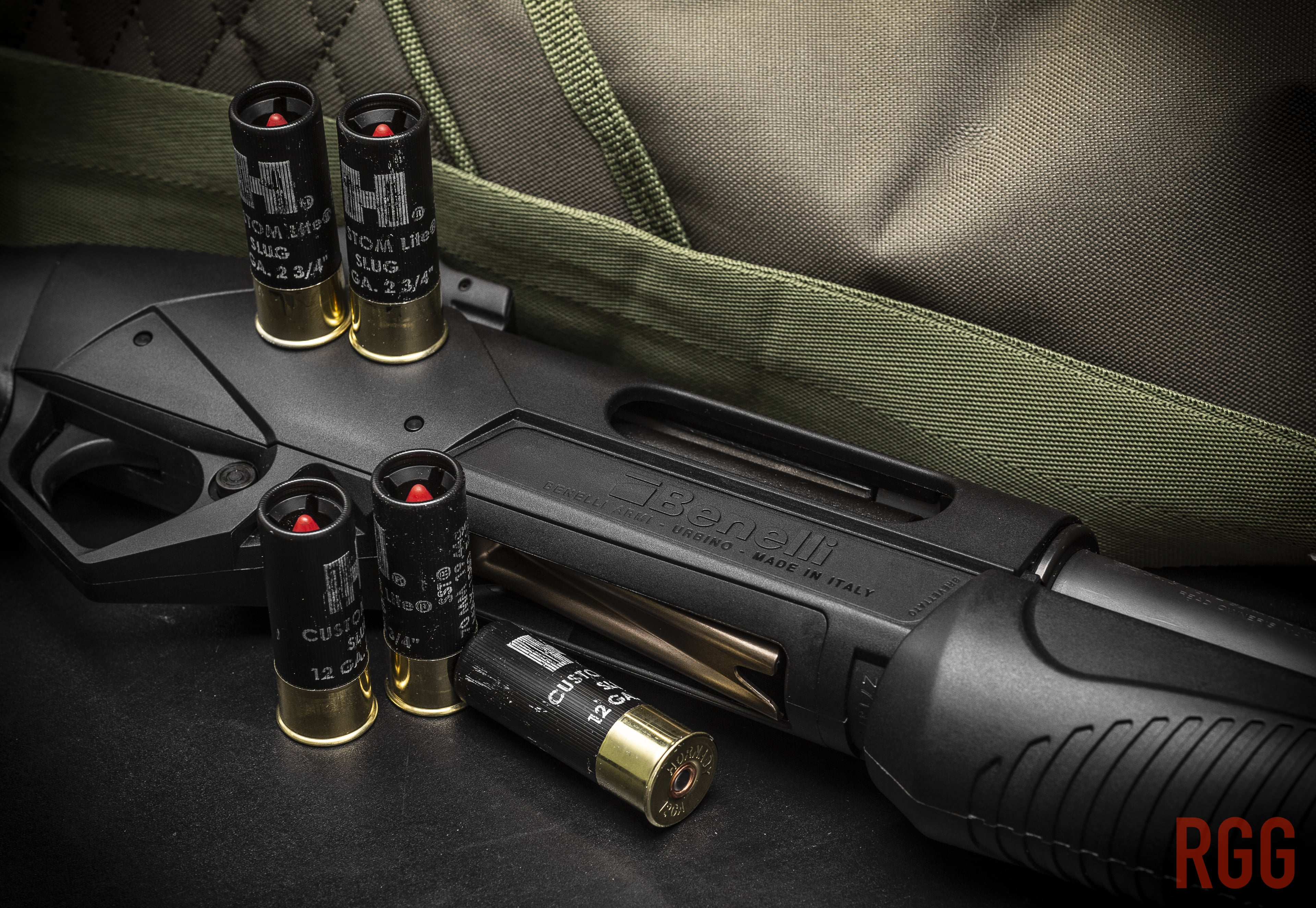 A Benelli SuperNova 12-gauge shotgun with Hornady Custom shells with the SST Projectile.