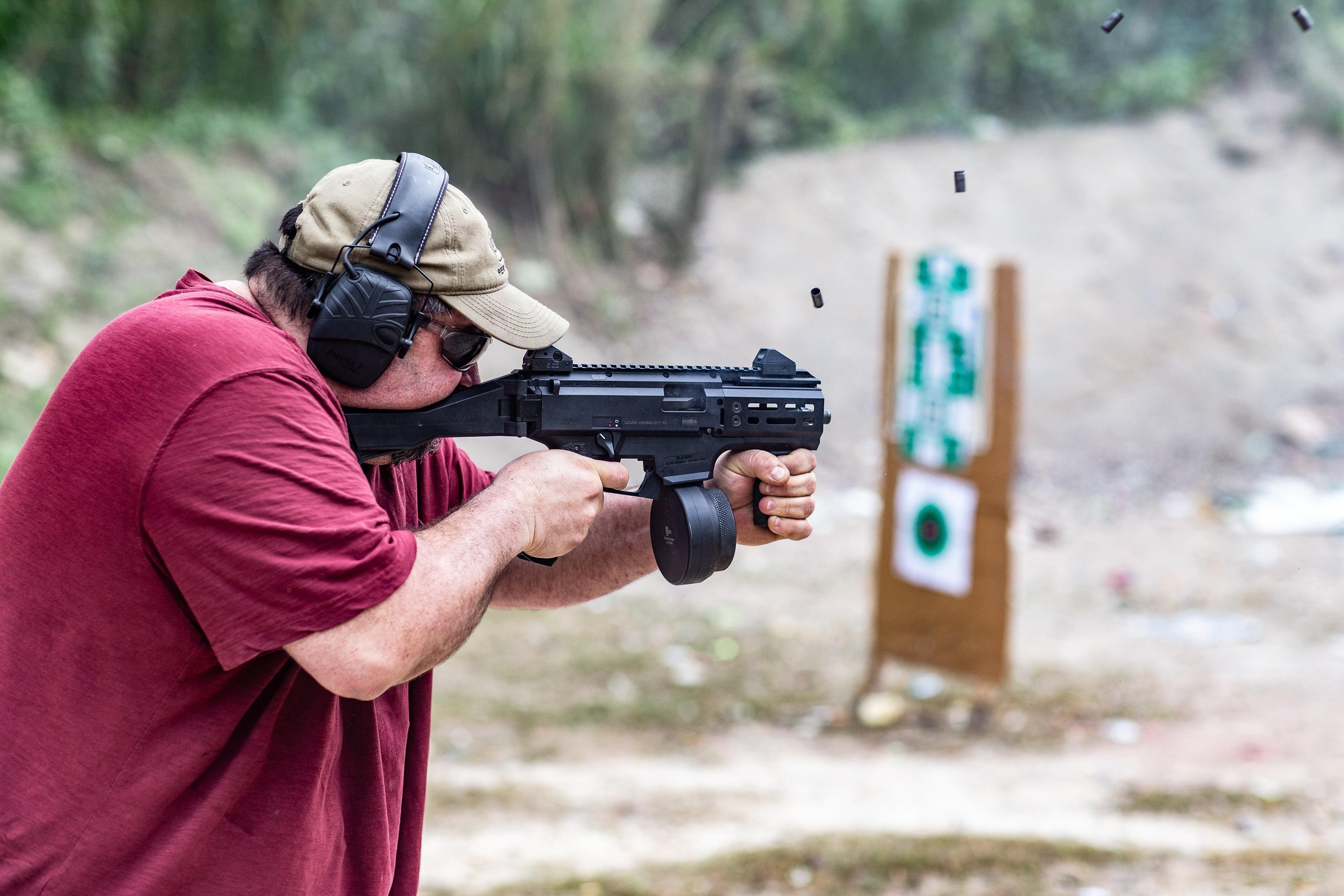 Carlos from CW Gunwerks running a CZ Scorpion EVO submachine gun