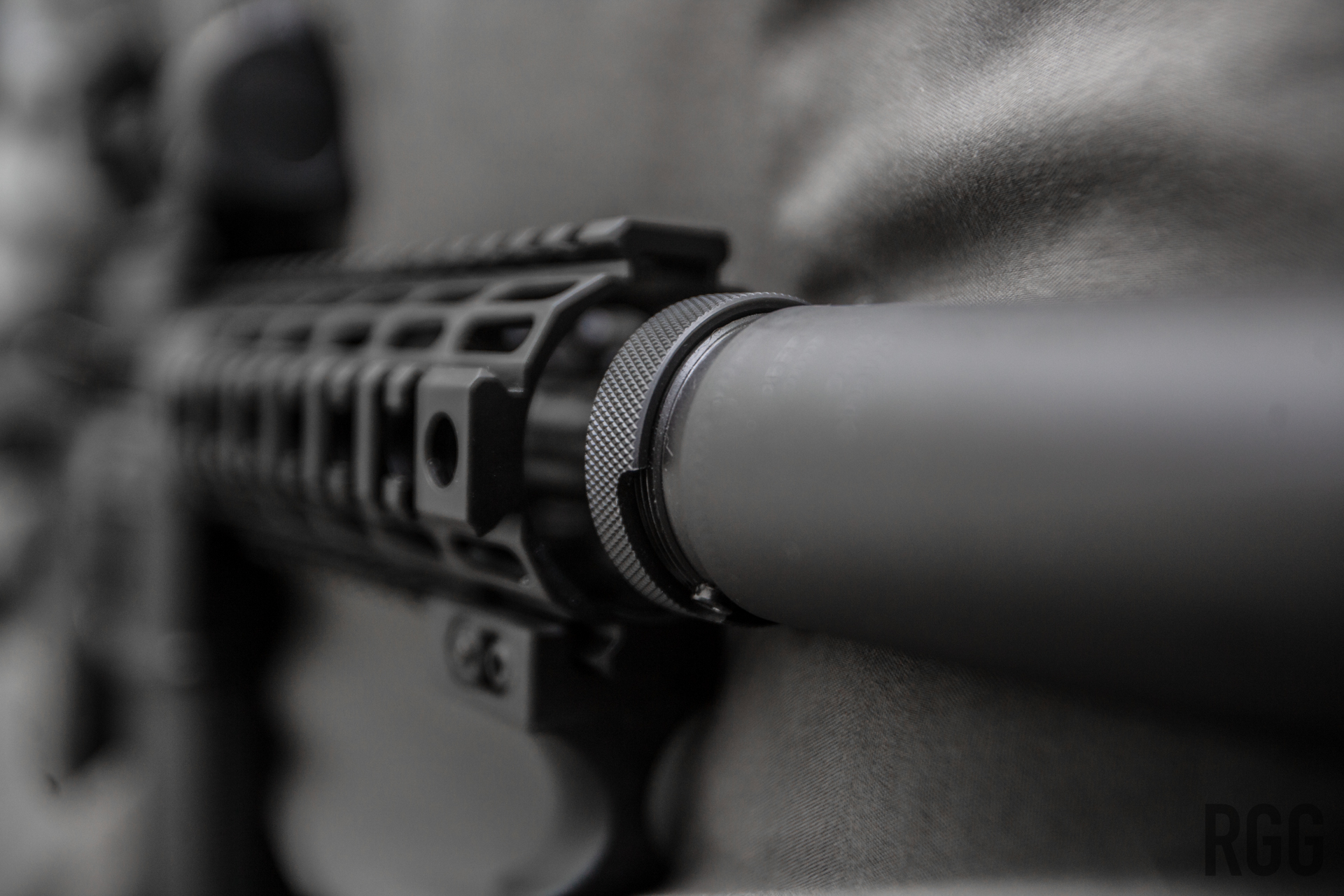The quick detatch mount on a Silencerco Specwar 762 suppressor