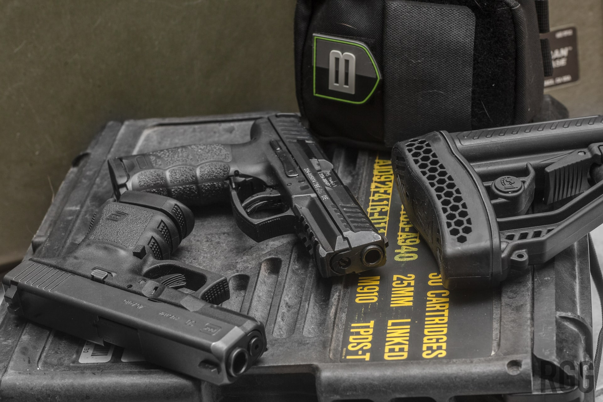 Breakthrough Clean, GLOCK 30, Heckler & Koch VP9, and an Adaptive Tactical EX Performance Adjustable Stock