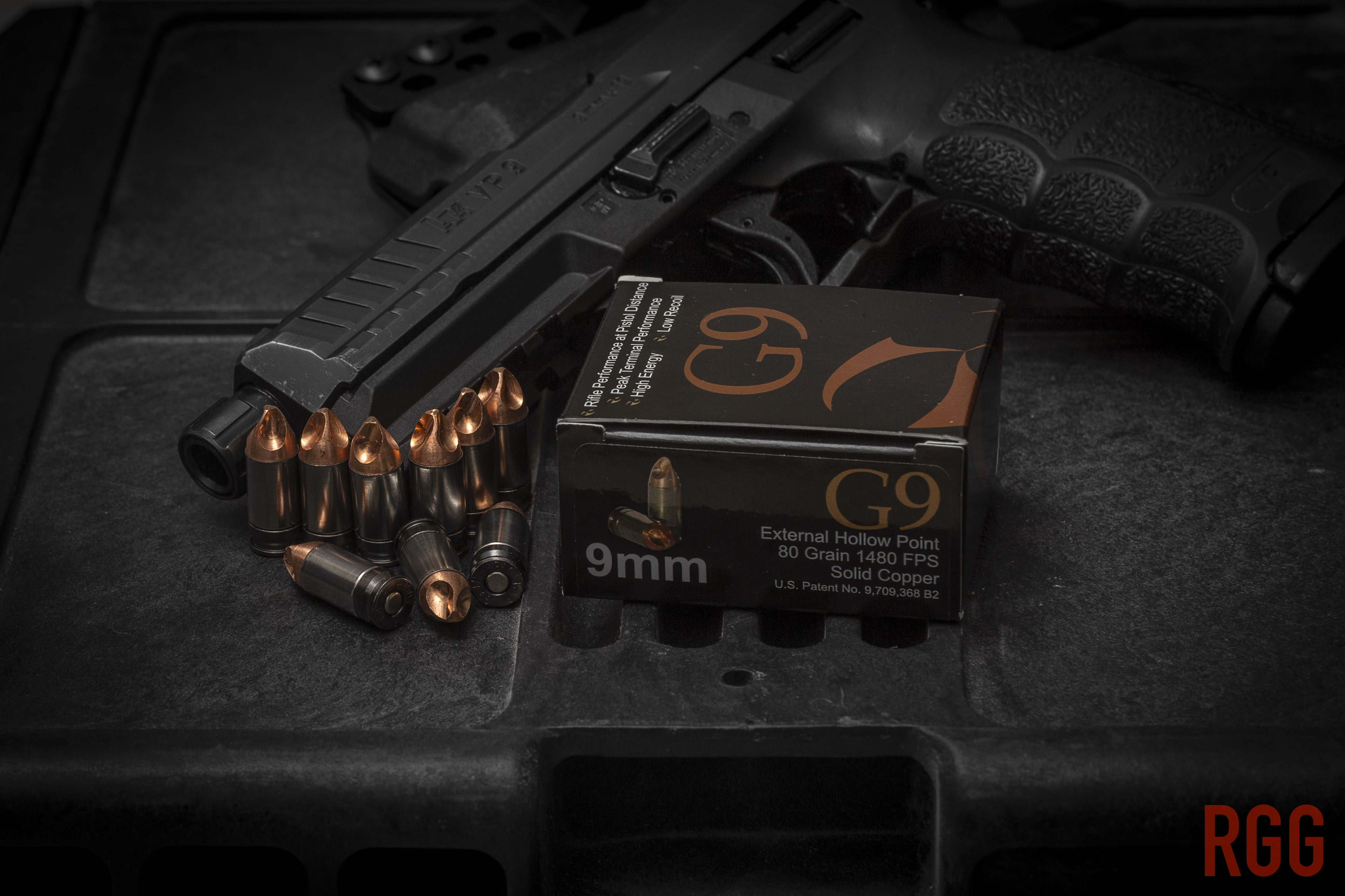 G9 Defense 9mm 80-grain +P External Hollow Point Ammunition.