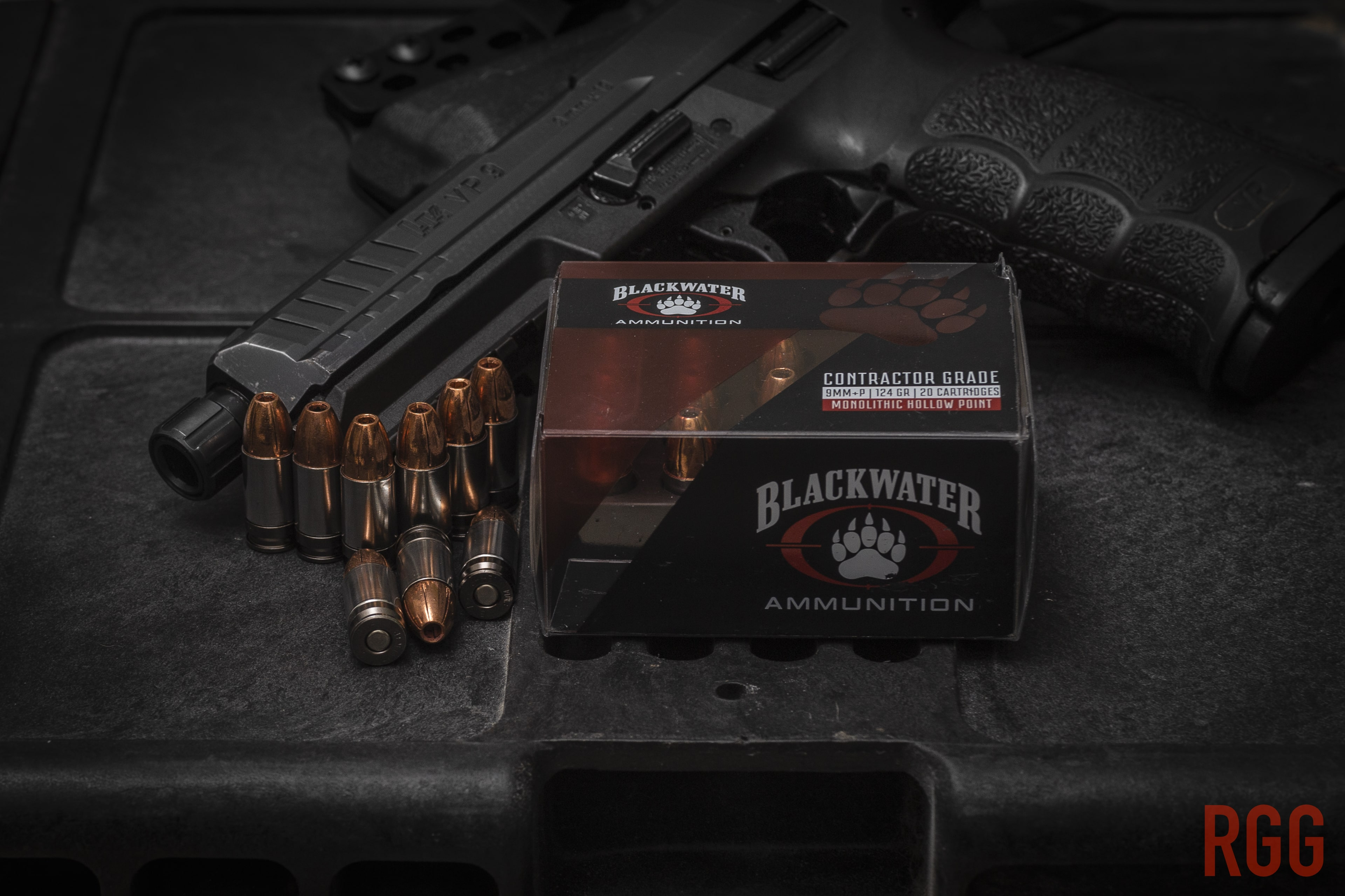 Blackwater Ammunition Contractor Grade 9mm 124 Grain +P Monolithic Hollow Point.