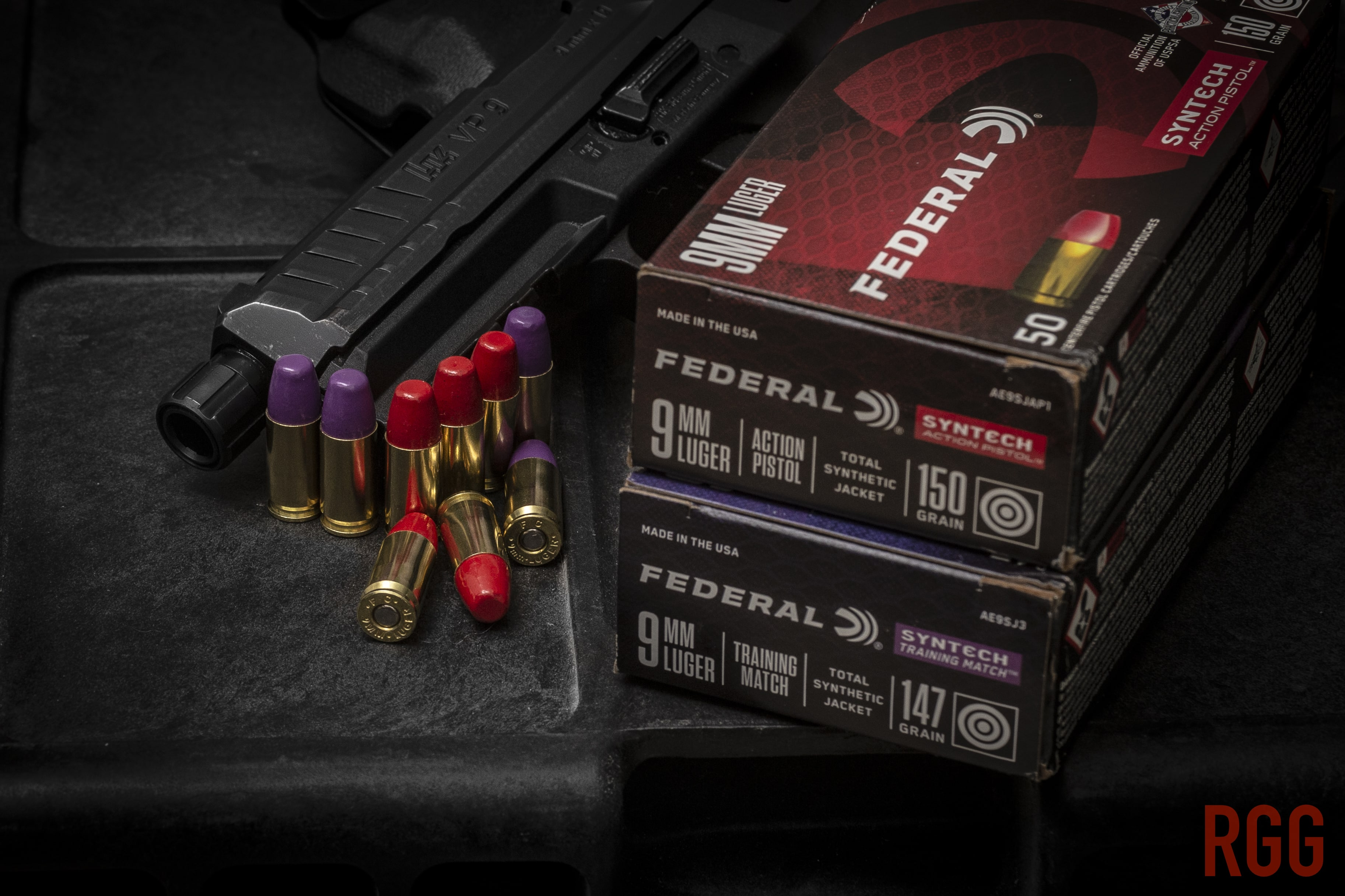 Federal Premium Syntech 9mm Total Synthetic Jacket Ammunition.