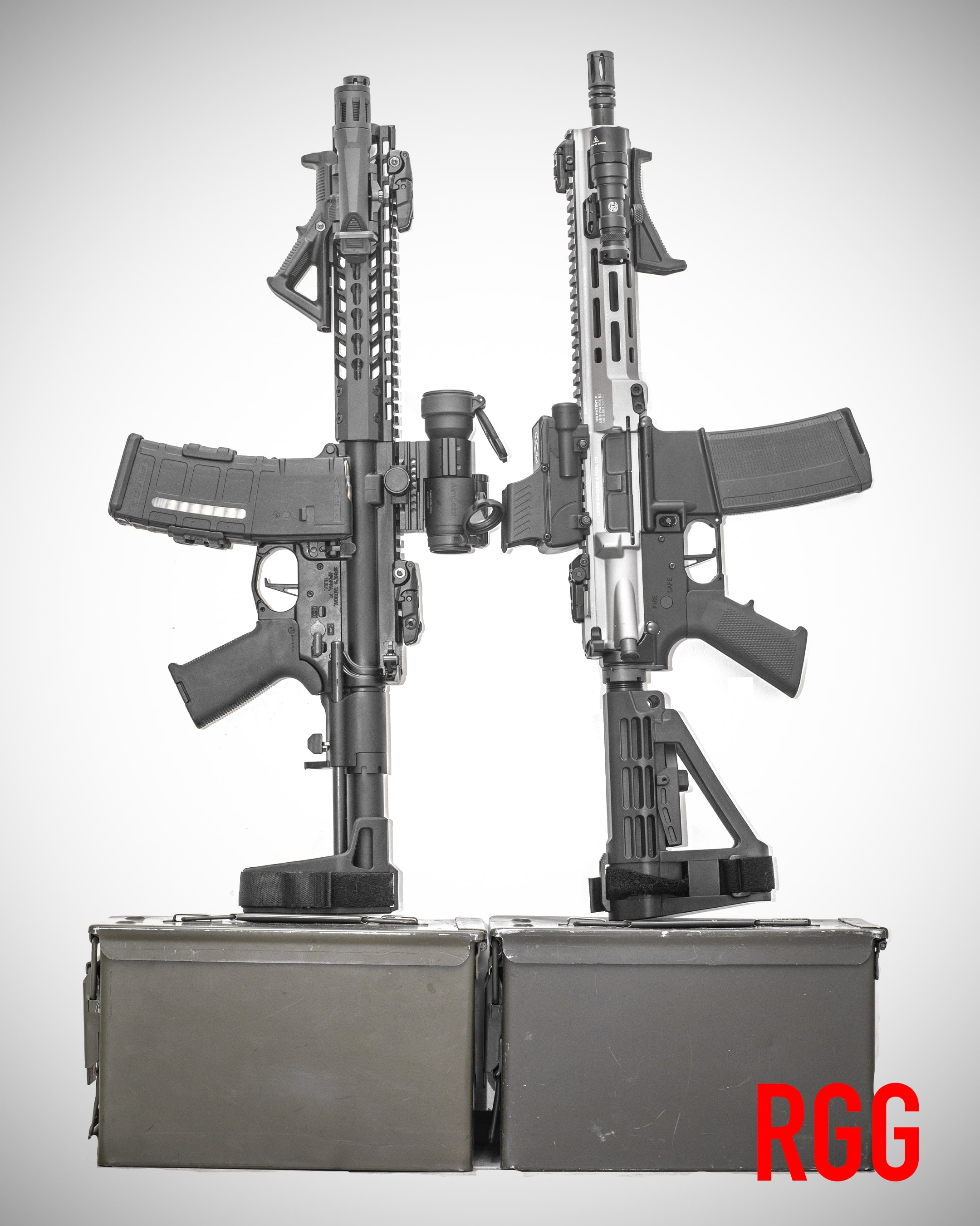 Two AR-15-style pistols.