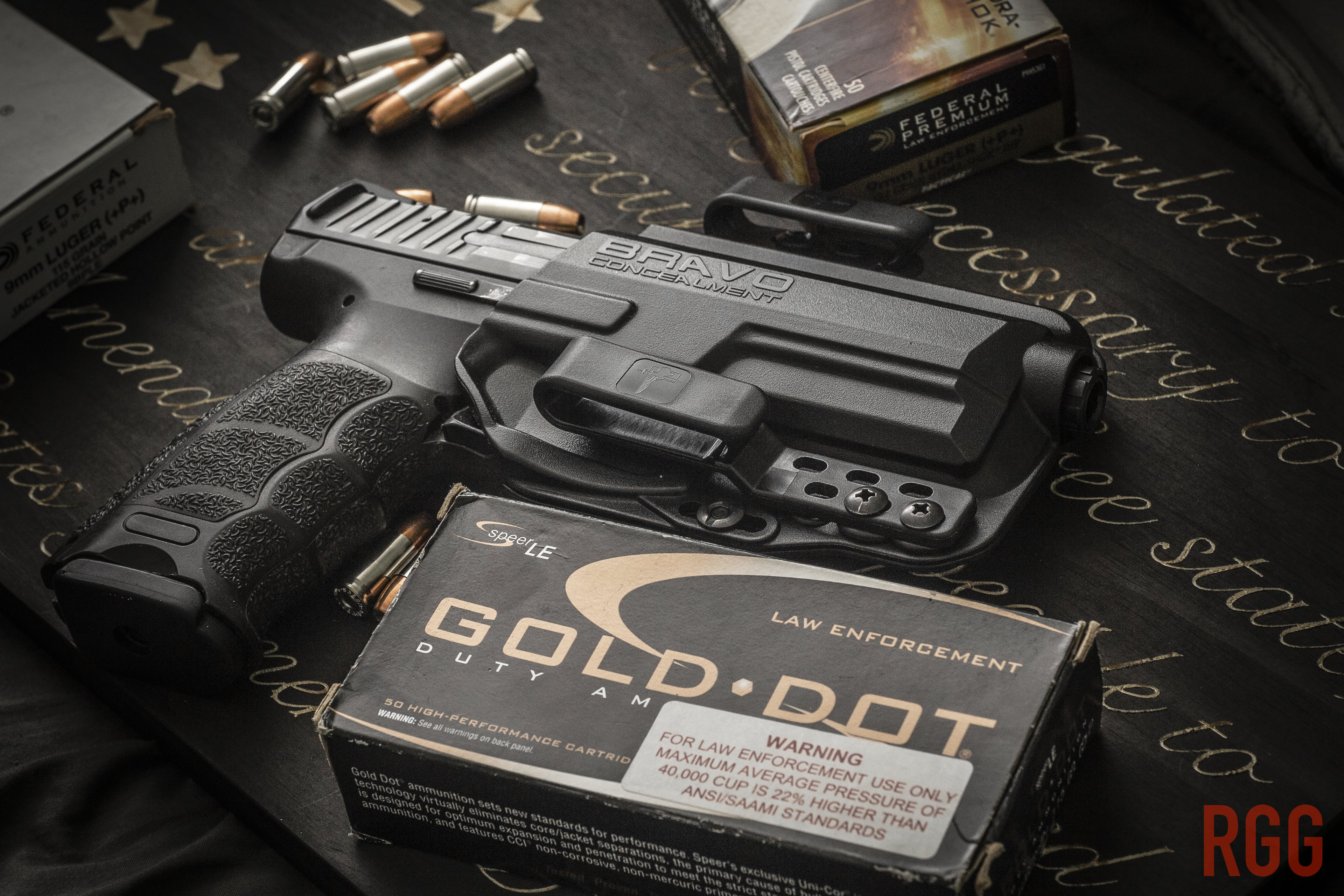A Heckler & Koch VP9 with a variety of +P+ ammo.