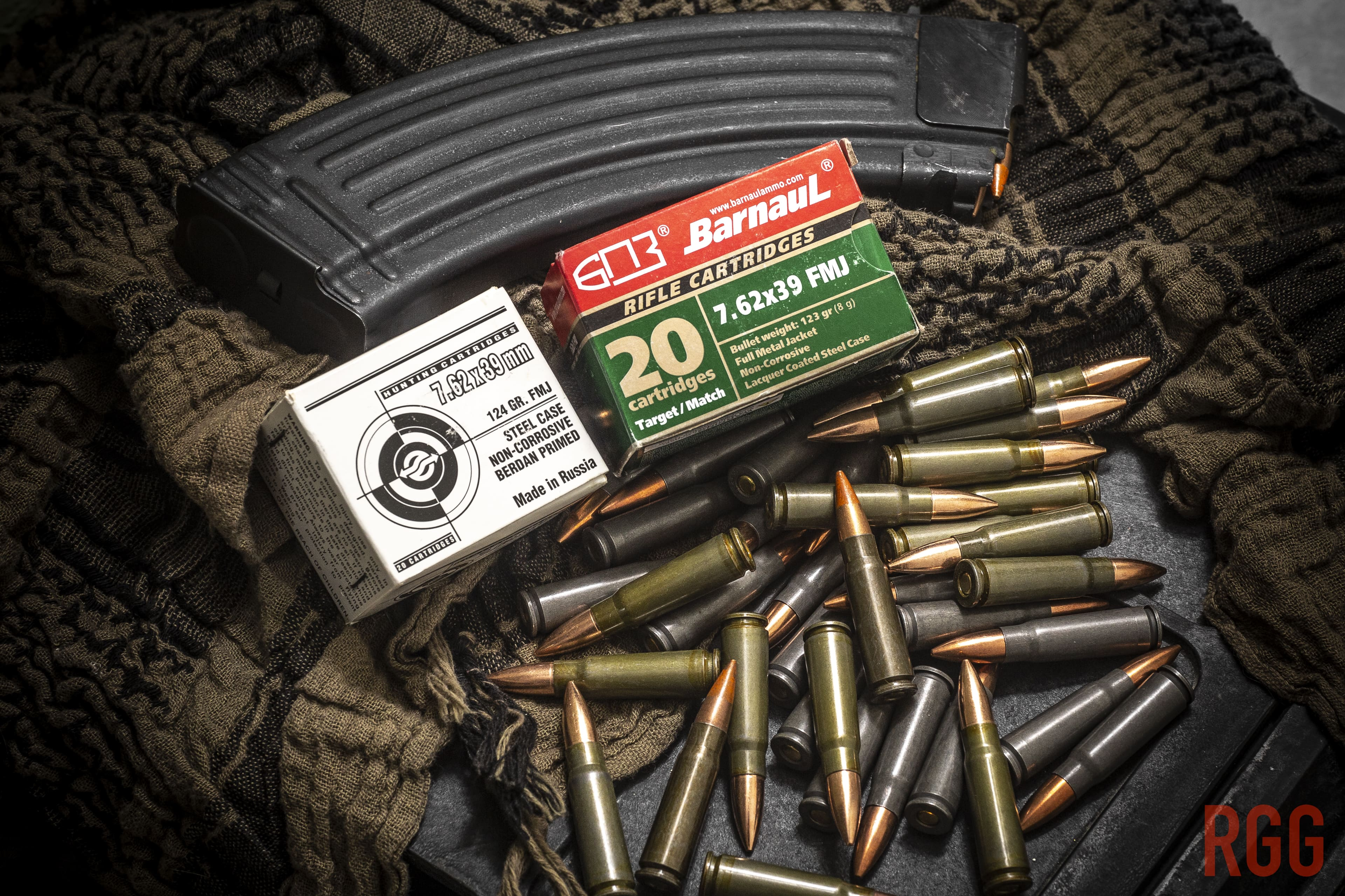 A mix of Russian-made 7.62x39mm ammo from UCW and Barnaul.