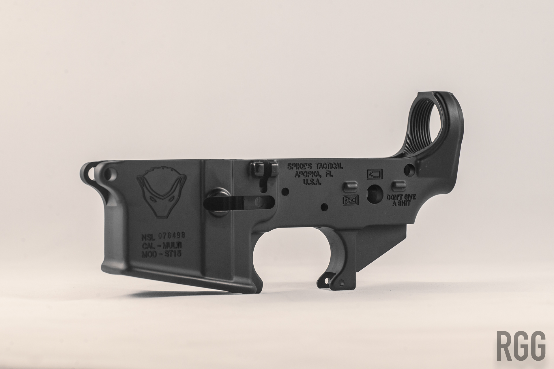 A Spike's Tactical Lower Receiver. The lower receiver 'receives' the operating components of the AR.