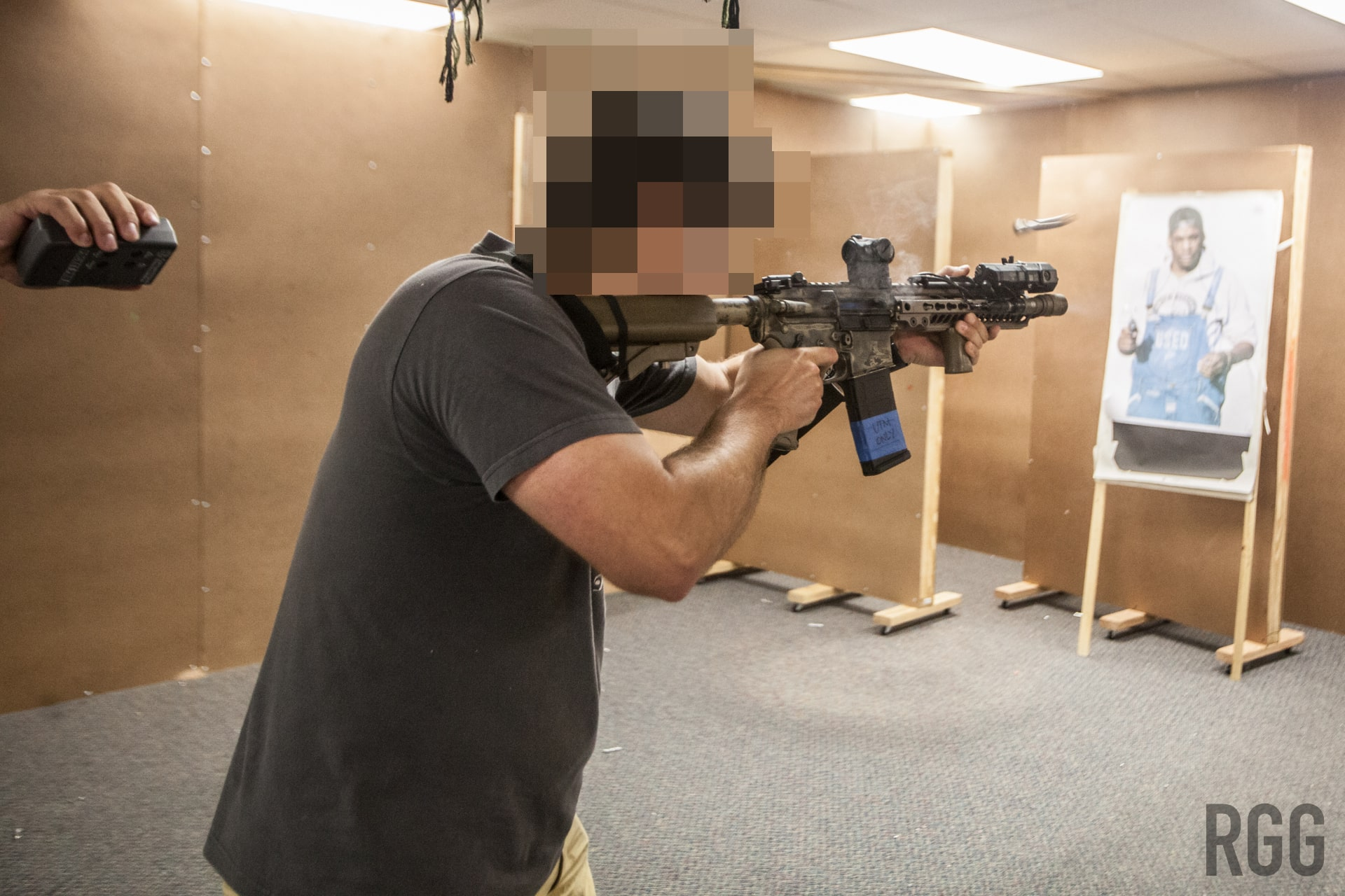A student training with UTM training ammunition at DA1 in Miami