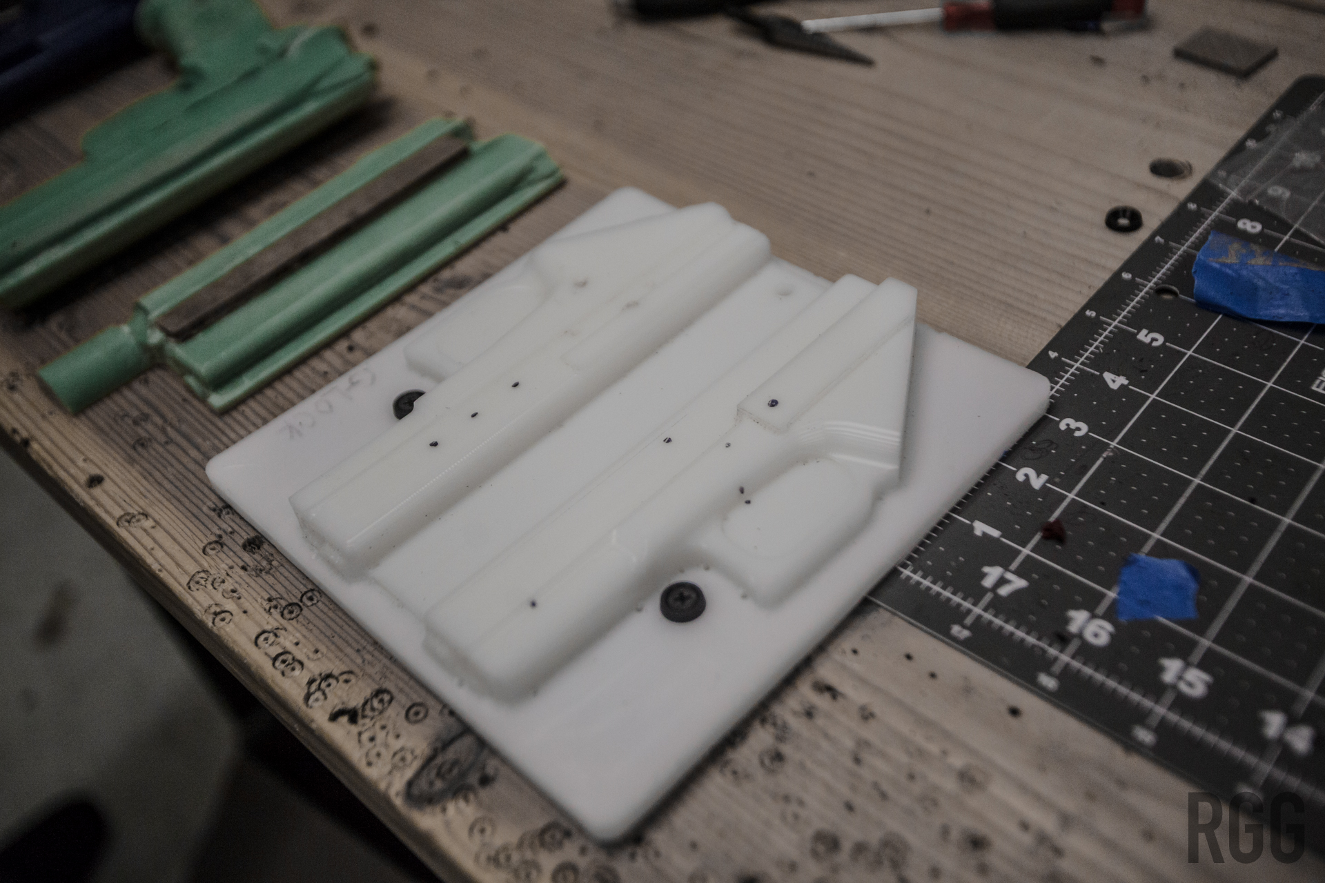 A mold for the first step of forming a Kydex holster
